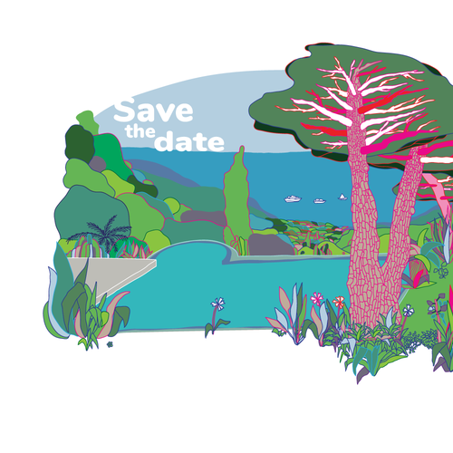 Tropical island design with the title 'Save the date Tropezienne poster concept'