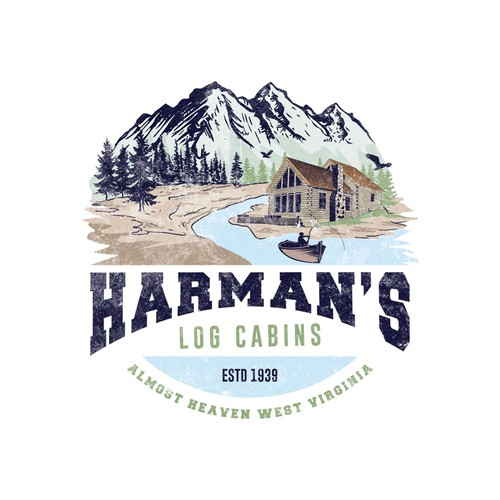 Infinity brand with the title 'Harman's Log Cabins'