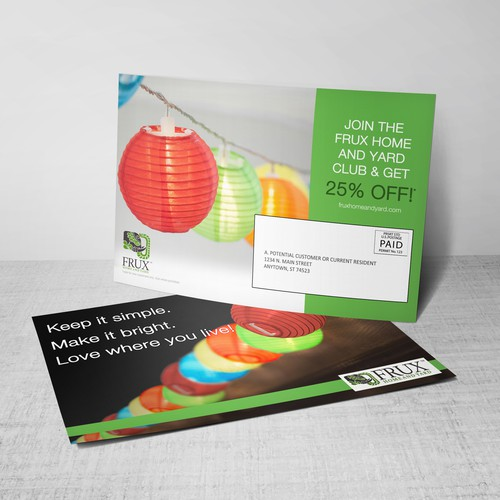 Direct mail design with the title 'Direct Mail Marketing Postcard'
