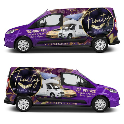 Vehicle graphic design with the title 'Finity High End Detailing '