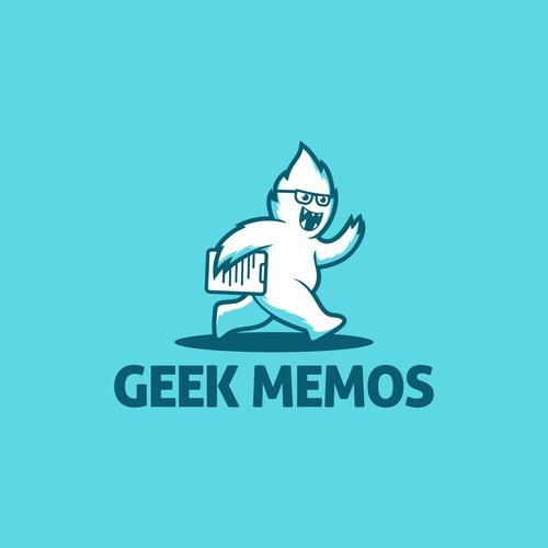 Yeti logo with the title 'geek memos logo'