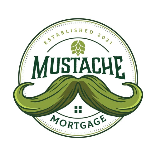 Mustache logo with the title 'Mustache Mortgage'