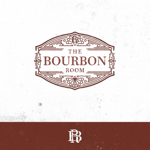 Ornamental logo with the title 'Vintage Cocktail Bar & Restaurant | The Bourbon Room'