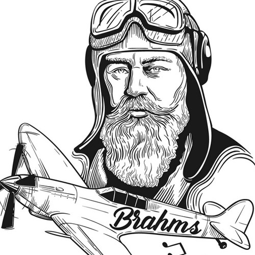 One-color design with the title 'Brahms dropping musical bombs'