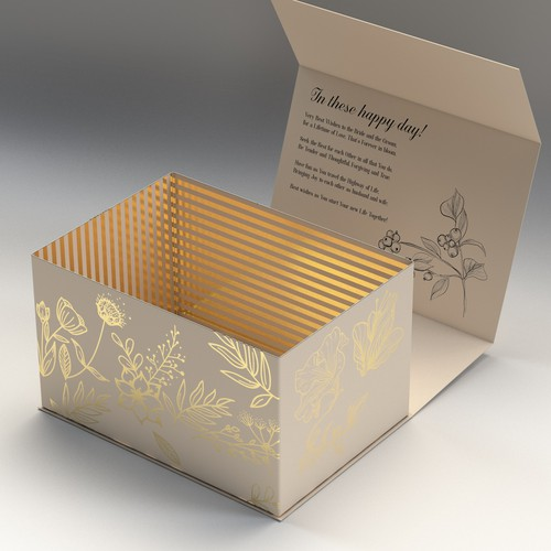 Beige design with the title 'Wedding Box with Gold and Beige '