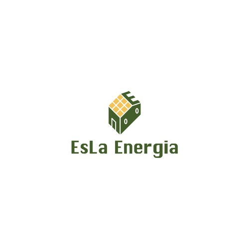 Solar system logo with the title 'Renewal energy company logo concept for EsLa'