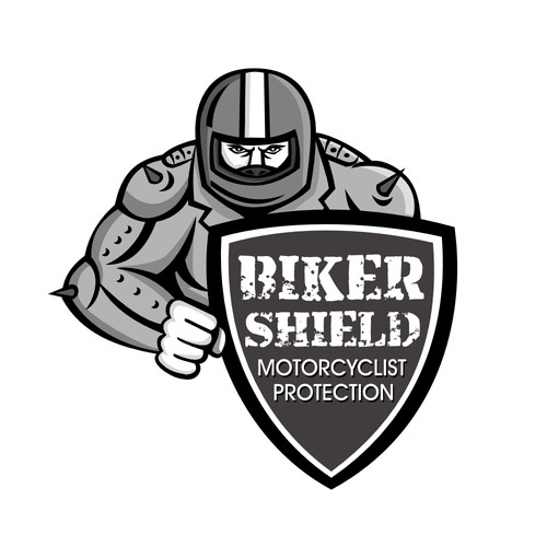 Cafe racer logo with the title 'Biker Shield'