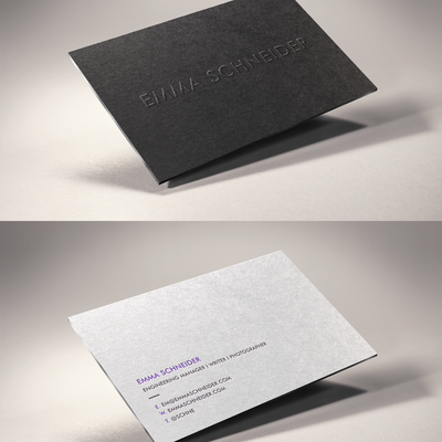 Letterpress Business Cards: Emboss + Silver Painted Edges