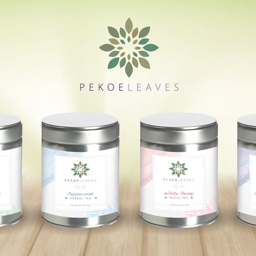 Feminine label with the title 'Premium Tea Labels'