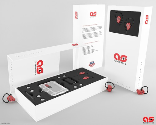 Earphone design with the title 'Aurisonics Retail packaging'