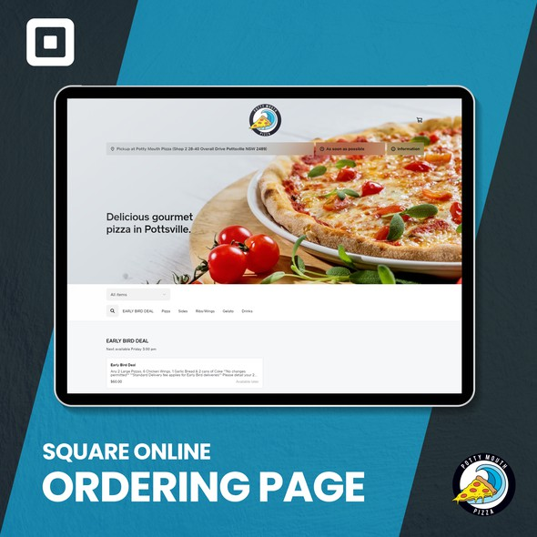 Pizza design with the title 'Potty mouth pizza -Square online ordering page'