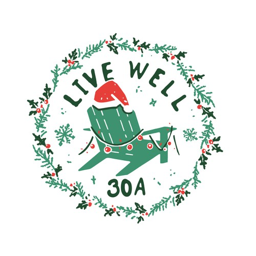 Rough design with the title 'LIVE WELL holiday tshirt design '