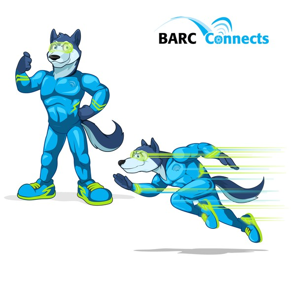 Husky design with the title 'Speedster Husky superhero mascot design for Barc Connects'