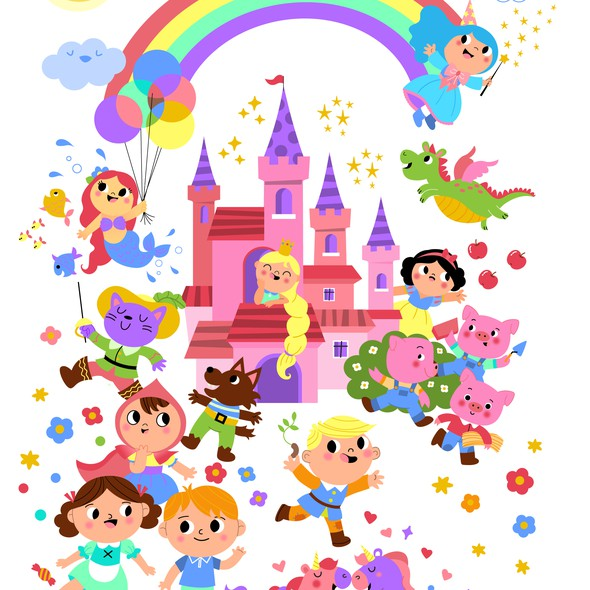 Princess artwork with the title 'My favorite fairy tale characters'