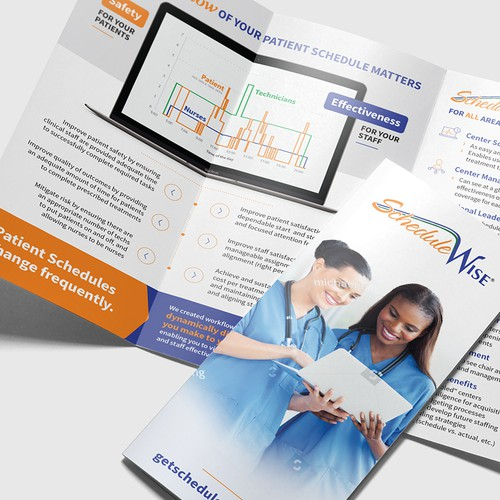 Orange and blue design with the title 'Modern and Clean Tri-fold'