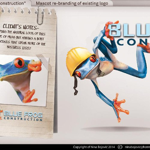 3D brand with the title 'Create a fun & professional 3D Blue Frog Mascot'