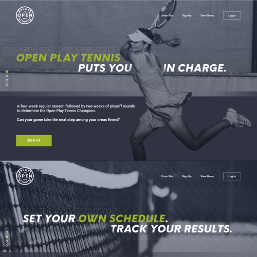 Slider design with the title 'Open Play Tennis Slideshow landing page'