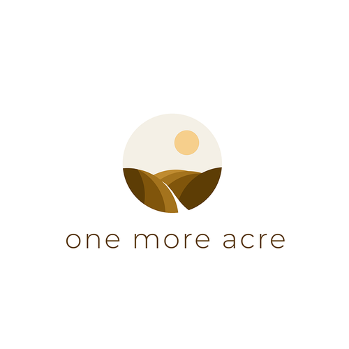 Land logo with the title 'One more acre - design for rural land broker'