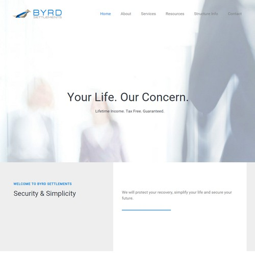 Mobile responsive design with the title 'Byrd Settlements Website'