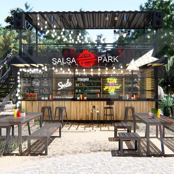 Exterior design with the title 'Salsa Park Restaurant'