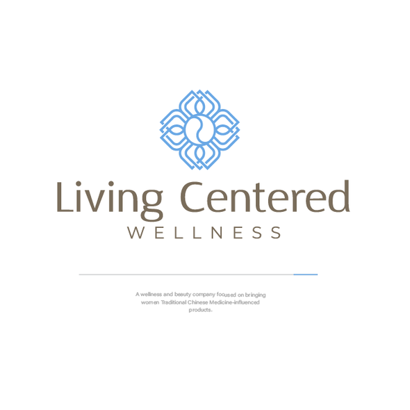 Flower petal logo with the title 'Living Centered Wellness'