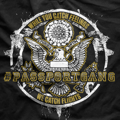 Boss design with the title 'Badass #Passportgang T-shirt'