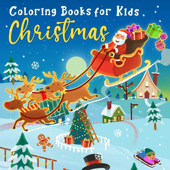 Love artwork with the title 'Coloring book cover for Christmas'