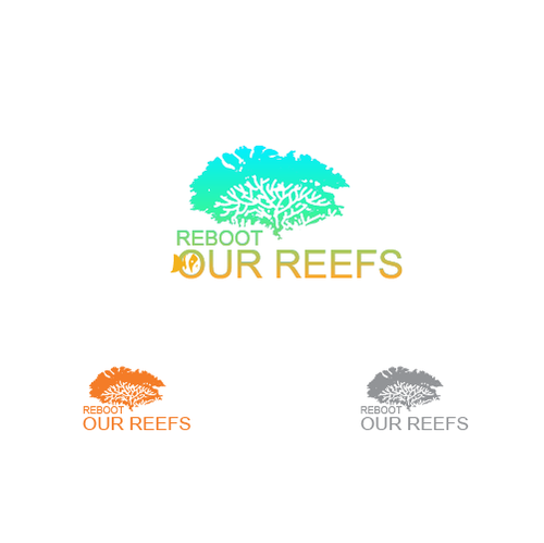 Underwater logo with the title 'Logo for people working together to revive coral reefs'