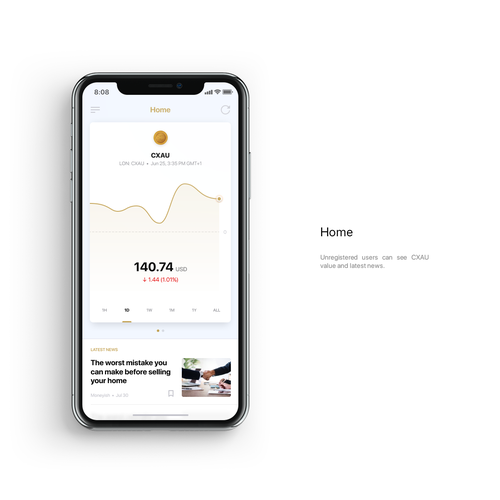Wallet design with the title 'Cryptocurrency wallet app'