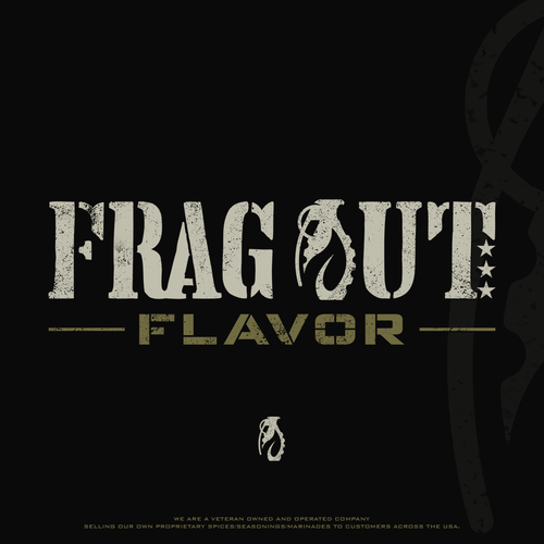 Military logo with the title 'Logo design for Frag Out Flavor'