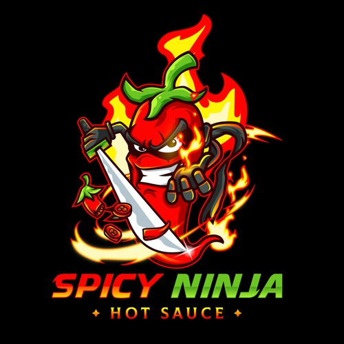 Chili pepper logo with the title 'Spicy Ninja Hot Sauce'