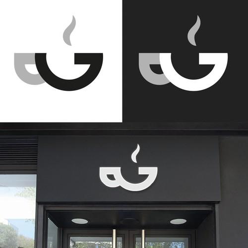 Cafeteria logo with the title 'Logo pour cafétéria bar'