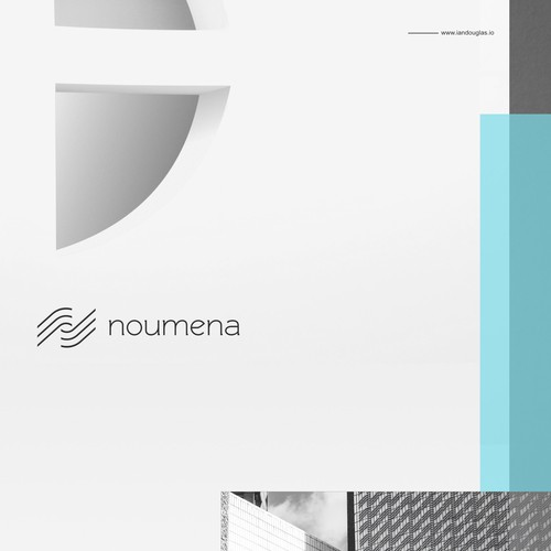 Bank design with the title 'Minimalist mark for fintech company Noumena'