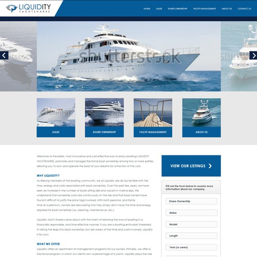 Exchange website with the title 'Private Luxury Yacht Shares Website'