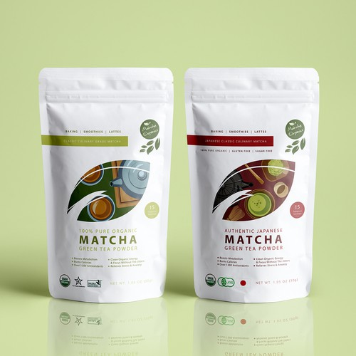 Matcha packaging with the title 'Modern Minimalistic Matcha Green Tea Pouch Design '