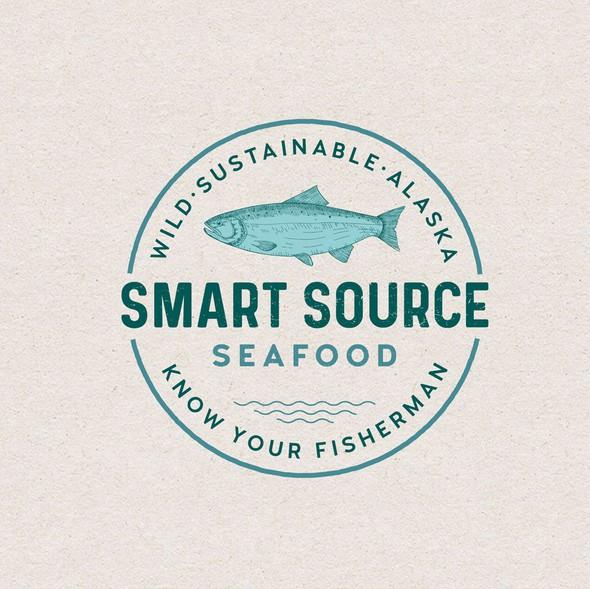 Salmon logo with the title 'Logo design'