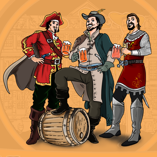 Pirate artwork with the title 'Label Illustration for a Brewing Company'