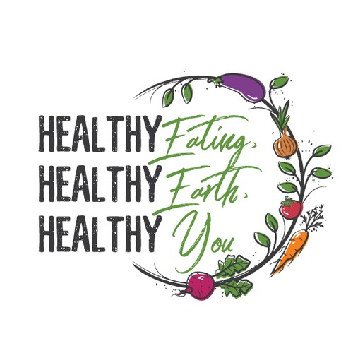 Healthy logo with the title 'Healthy earthy veggie friendly logo'