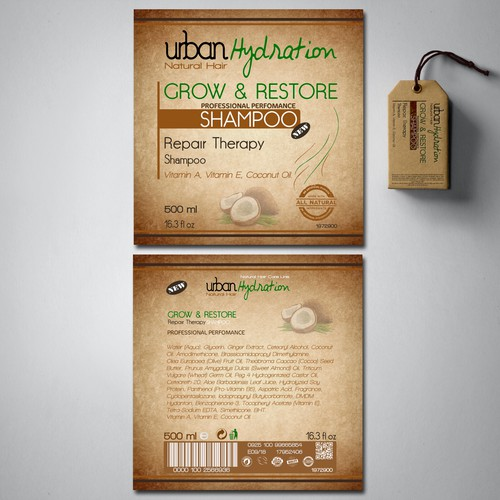 Concept packaging with the title 'Label for Natural Hair Care Line.'