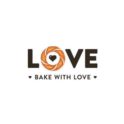Bakery logo with the title 'Bake with love'