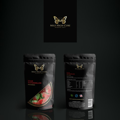 Gummy packaging with the title 'Mile High Cure '