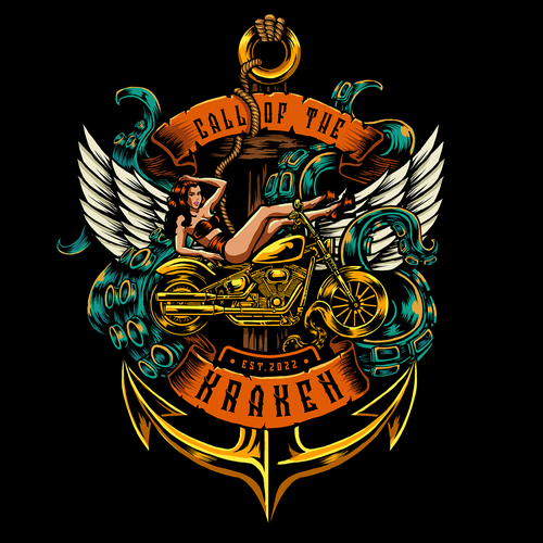 Biker design with the title 'Call of the Kraken (Live. Ride. Party.)'