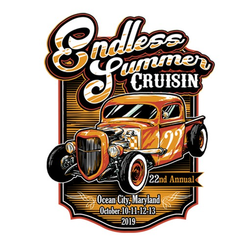 Car t-shirt with the title 'edless summer classic car event'