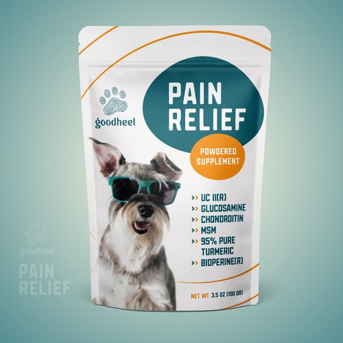 Supplement packaging with the title 'Fun packaging for a dog supplement design'