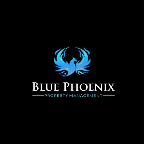 Burning design with the title 'blue phoenix property management logo'