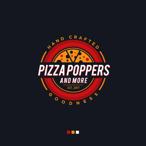Pizza logo with the title 'Pizza Poppers & More Logo Design'