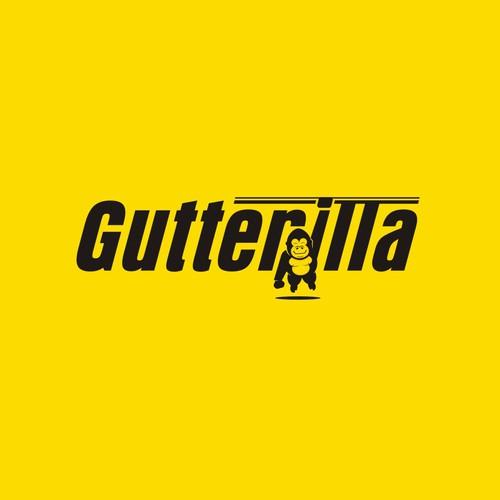 King Kong logo with the title 'Gutterilla - design friendly minimal gutter gorilla logo.'