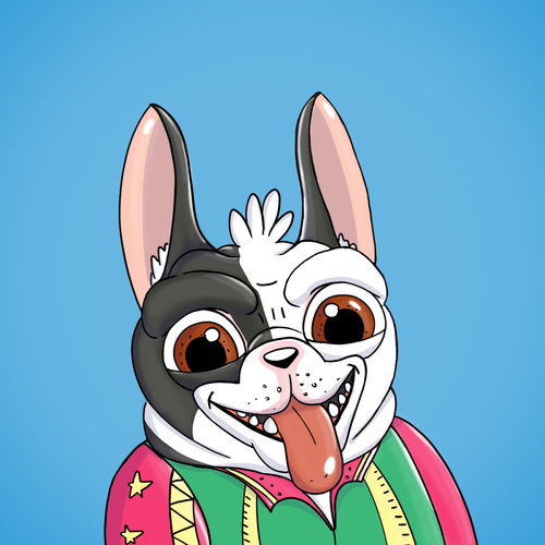 French bulldog design with the title 'NFT ART Character'