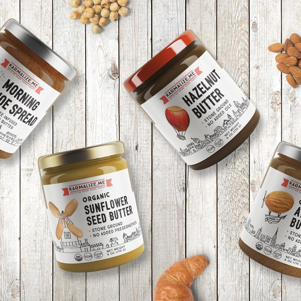 Butter design with the title 'Label design for organic nut butters for Karmalize.me'