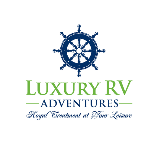 RV logo with the title 'Luxury RV Adventures '